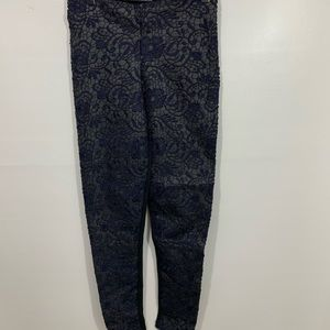 Zara Lace Front Blue and Black Leggings S